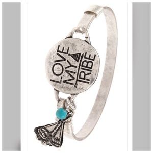 'Love My Tribe' Silver Turquoise Bangle Bracelet